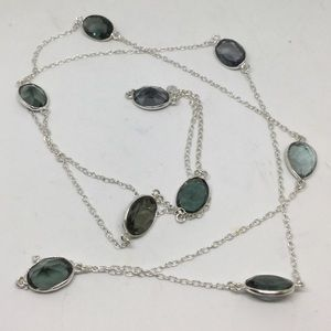 Smokey Quartz Long Silver Necklace